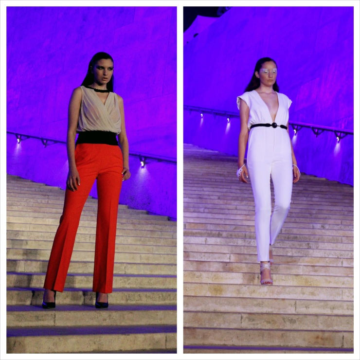 Left: The pant's intense earthy colour contrasts perfectly with the more subdued top section, and the tri-partite division of colours imparts height and sophistication. Right: White on white is a welcoming formula, especially if it's in the form of a pantsuit. Add the belt, and it flatters the waist no end.