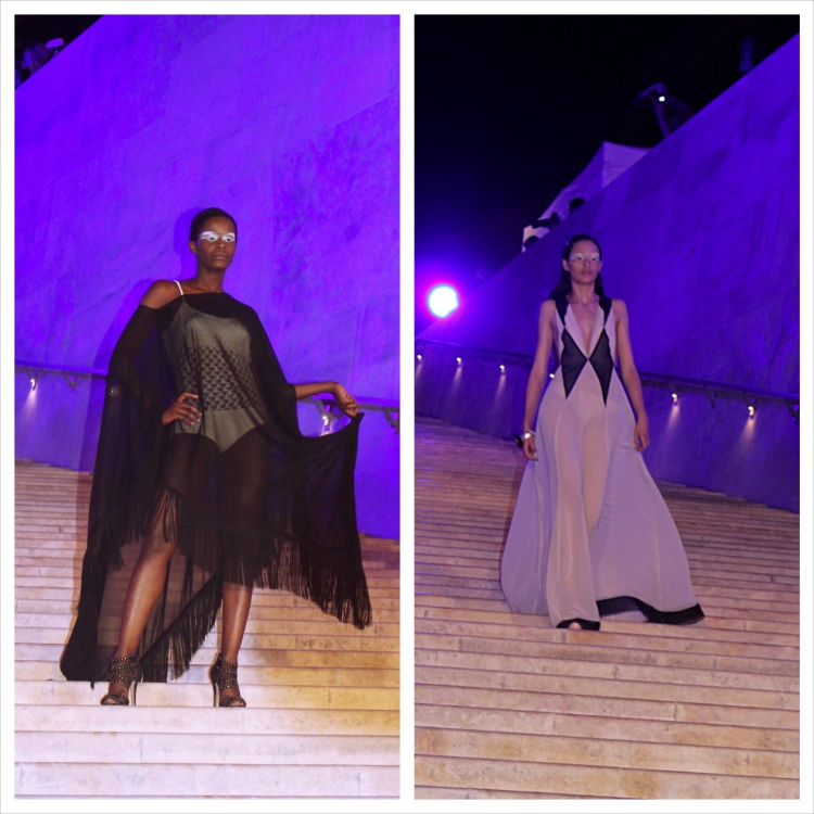 Left: The 'storm' element is kindled in this creative piece, so playful yet dark. Right: The fanciful silhouette created by this dress is what caught my eye; once again, the play of stark colours makes for a splendid result.