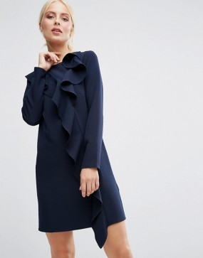 navy-shift-ruffles-dress